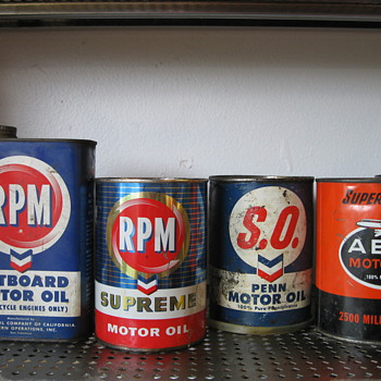 Collection of vintage oil cans