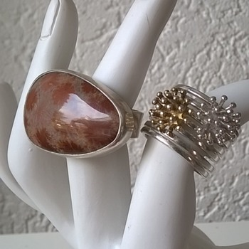 Silver & Fossilized Coral Ring, Flea Market Find For 10 Euro