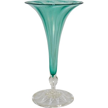 L.C.Tiffany Favrile Iridescent Aqua Floriform Vase. - Art Glass