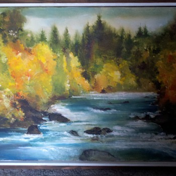 Impressionistic golden trees and blue water