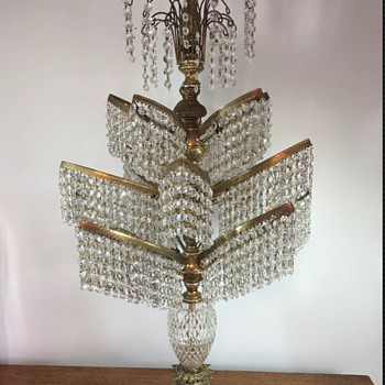 """Antique Brass And Crystal Waterfall 39"""" Candelabra Draped By 2,675 Crystals  - Lamps"""