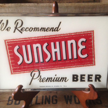 Sunshine Beer Glass ROG Sign - Breweriana