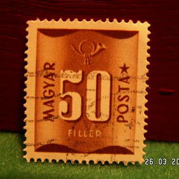 Vintage Magyar Posta 50 Filler Stamp ~ Used
