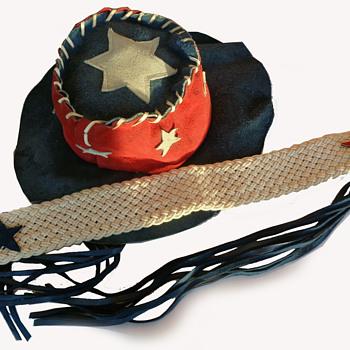 #50 ~ 1960s RWB Suede American Flag Hippie Counter Culture Hat & Sash