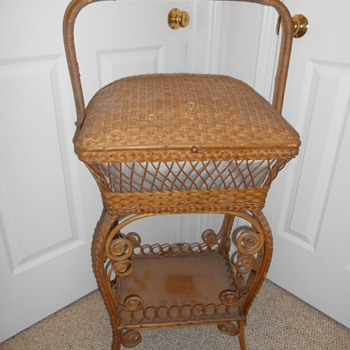 "Antique Wicker ""Haywood Brothers"" Sewing Cabinet - Sewing"