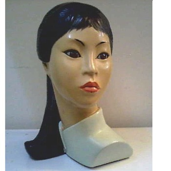 "Marwal Ind. Inc. ""Asian Beauty"" 10"" Chalkware Bust by Brower/ Circa 1965 - Figurines"