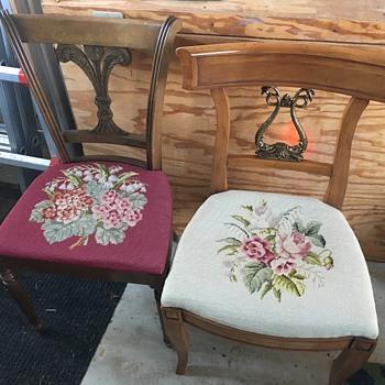 Grandma's embroidered chairs - Furniture