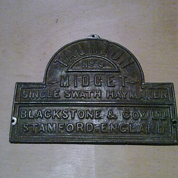 Nameplate from a Blackstone swath turner. - Tools and Hardware