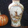 Large De Delftse Pauw Pottery Delft Polychrome Vase With Windmills Scene