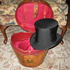 Antique Collins & Fairbanks Leather Top Hat Case w/Original Top Hat