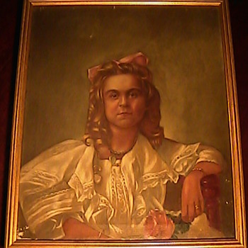 Victorian Oil Painting Lady with Jewels James A. Sullivan