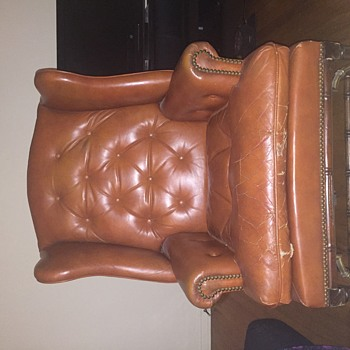 Schafer Bros leather wingback chair
