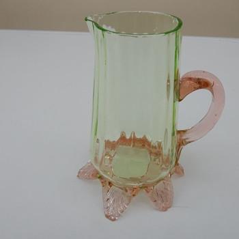 Franz Welz Uranium Green and Pink Glass Creamer - Art Glass