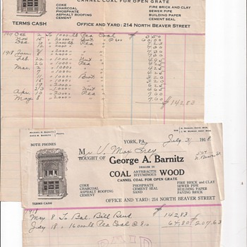 Coal Bills From 1913 & 1918, Dry Cleaning From 1923 & 1921, Auto Insurance From 1920