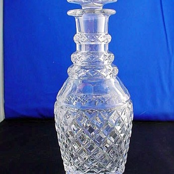 Antique Crystal 3 Ringed Necked Decanter - Bottles