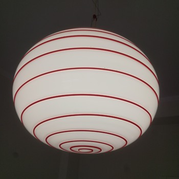 one of my favorite lamps, white opaline with red swirl cased in clear glass - Lamps