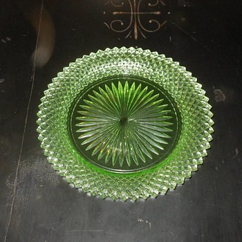 Miss America Green Bread Plates Depression Glass - Glassware