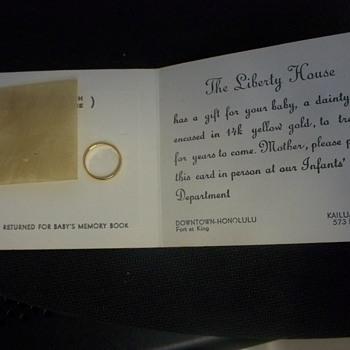14K  Gold Baby Ring / Liberty House / Honolulu, Kailua / Gift Card - 1950s