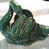 "Beautiful Green Majolica Swan Planter / Marked ""Made in Portugal""/ Unknown Age"