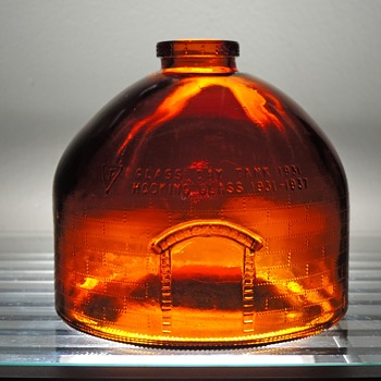 1981 Glass Oven Furnace Anchor Hocking 50th Anniversary Bottle Winchester Indiana Embossed Amber Day Tank Kiln - Bottles