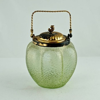 Iridescent glass biscuit barrel - Czech glass? - Art Glass