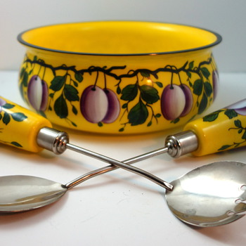 Hand painted Czech glass salad serving set, ca. 1930s - Art Glass