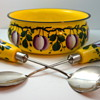 Hand painted Czech glass salad serving set, ca. 1930s