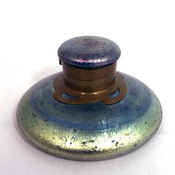 "Loetz Cobalt ""Norma"" Inkwell. Circa 1900 - Art Glass"