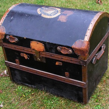Victorian Canvas Covered  Wood & Wicker Trunk w/Tinned Copper   - Furniture