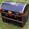 Victorian Canvas Covered  Wood & Wicker Trunk w/Tinned Copper