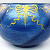 Loetz Blue Melusin Bowl with Applied Enamel Decoration