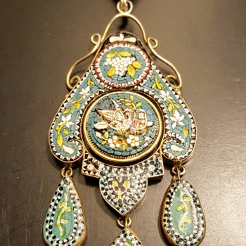 Antique micromosaic vermeil pendant, KYRATISED! - Fine Jewelry