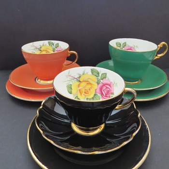 1950's Harlequin Cup and Saucers - Edwardian Bone China - China and Dinnerware