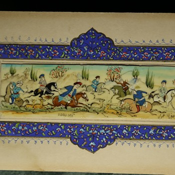 Persian Hunting Scene Painted on Bone - Fine Art