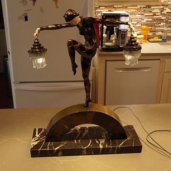 "Marcel A. Bouraine ""Harlequin"" Lamp/Sculpture, 1930 - Art Deco"