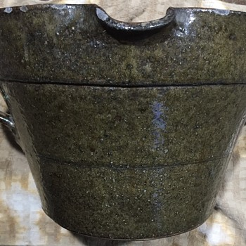 Dark Green Two Handle Crock Mixing Bowl With Pouring Spout - Pottery