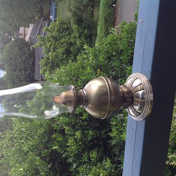 Very heavy brass oil lamp