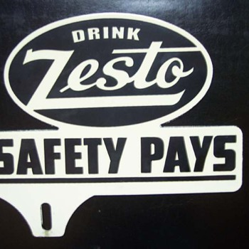 40's Zesto Soda License Plate Topper - Signs