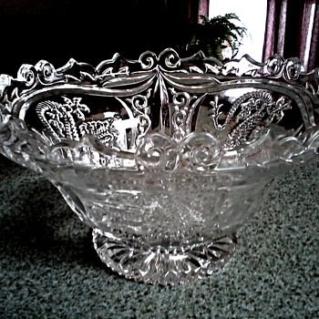 Hofbauer W. Germany Lead Crystal Dragon Bowl /Circa 1950's-60's - Glassware
