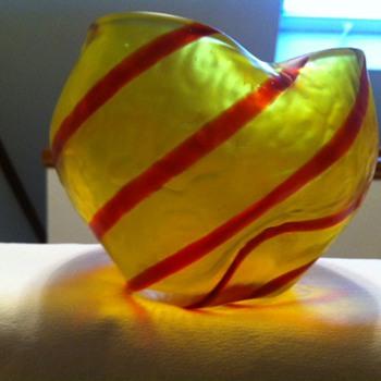 A great Kralik Candy Cane pattern rose bowl - Art Glass