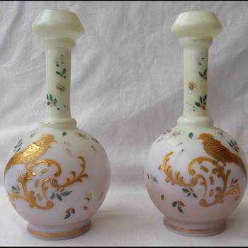 TRUE PAIR of HARRACH PHEASANT GUILDED VASES  - Art Glass