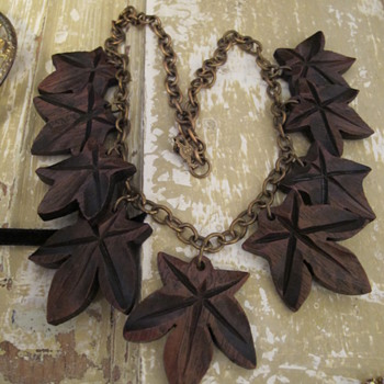Old Brass and Wood Necklace - Costume Jewelry