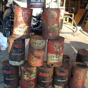 old rusted tin cans