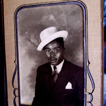 1930's BLACK MAN, LOADED WITH PERSONALITY ,JAZZY HAT TIPPED To SIDE, EASEL FRAME  - Photographs