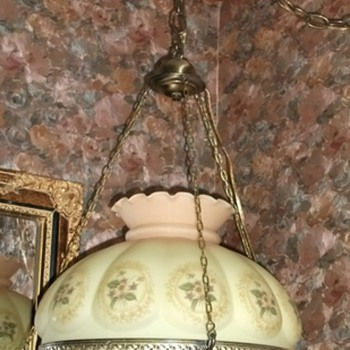 1940's Vintage GWTW hanging lamp with crystal prisms - Lamps
