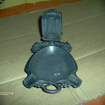 Old Silver Or Plated Mail Holder Or Cigarette Holder With Ash Tray