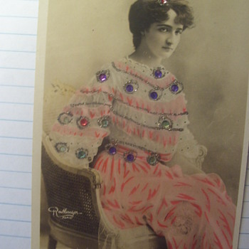 Beautiful Hand Decorated Gelaten Photo Card. Gypsy ? With Sparkle Stones on Colored Dress, c.1908 - Postcards