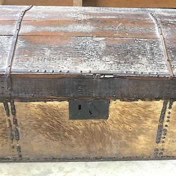 Antique Napoleonic/Victorian Domed Top Campaign/Steamer Trunk Travel chest Dometop - Furniture