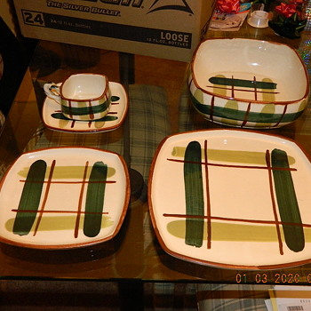 "Blair ""Gay Plaid"" service for 6 w/2 serving bowls.  - Mid-Century Modern"