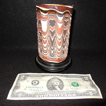 Red Canyon Ware Vase/Cup by Byron Seeley bottom mark Byron, From Concord, Ca. Antiques Fair - Pottery